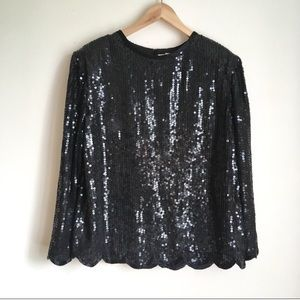 Vintage Lord & Taylor black sequin beaded blouse